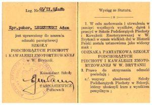 legitymacja odznaki pamiątkowej Szkoły Podchorązych Piechoty i Kawalerii Zmotoryzowanej w W.Brytanii Adam Legeżyński rewers