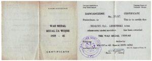 zaświadczenie Medalu Za Wojnę 1939-45 Adam Legeżyński