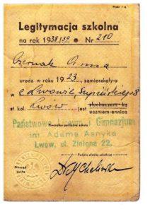 legitymacja-szkolna-1938-9-lwow-Anna-Csernak