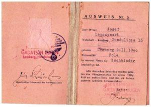 Ausweis Lwów 1942-44 r Józef Legeżyński 2