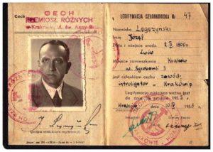 legitymacja Cech Rzemiosł Różnych Kraków 1955 r Józef Legeżyński introligator
