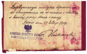 przepustka całodzienna Lwów luty 1919 r